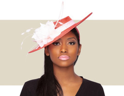LADIES BOATER HAT - Coral and White