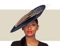 KALYNA HAT - Navy and Pheasant Feather