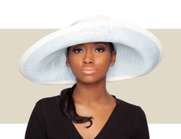 JOY LARGE UPBRIM HAT - Light Blue and Ivory