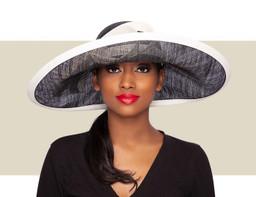 JOY LARGE UPBRIM HAT - Black and White