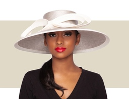 ISELA DOWNBRIM HAT - Silver and Ivory