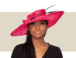 BRIELLE UPTURN HAT - Hot Pink and Black
