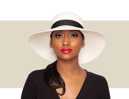 WOMENS SMALL SUN HAT - Ivory and Black