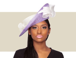 PAOLA FASCINATOR HAT - Lilac and Ivory