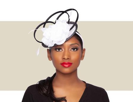JOSIE Fascinator Wedding Hat - White and Black