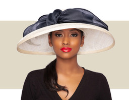 SYDNEY DOWNBRIM HAT - Ivory and Navy