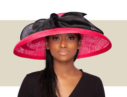 SYDNEY DOWNBRIM HAT - Cerise and Black