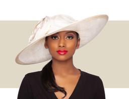 ELOISE WIDE-BRIM HAT - Ivory