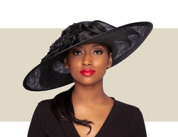 ELOISE WIDE-BRIM HAT - Black
