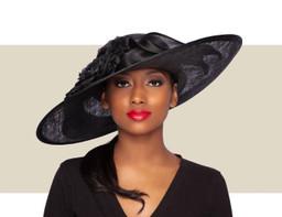 ELOISE WIDE-BRIM HAT - Black