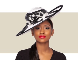 ROSALIE FASCINATOR HAT - White and Black