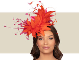 CHRISTIANE COCKTAIL HAT - Orange and Hot Pink