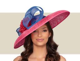 SAINT LAURENT HAT - Lipstick Pink and Royal Blue