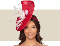 ROANNE FASCINATOR - Red and White