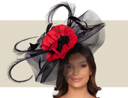 TOULOUSE HEADPIECE - Black and Red