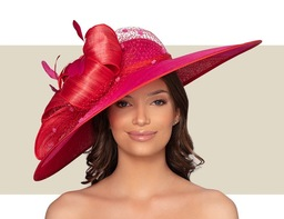 BRIMINGHAM HAT - Red and Hot Pink