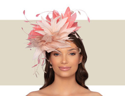 CHRISTIANE COCKTAIL HAT - Blush and Coral
