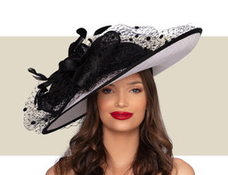 KAY WIDE BRIM HAT - White and Black