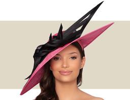 BERNADETTE HAT - Lipstick Pink and Black