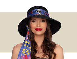 UMBRIA HAT - Black with Silk Scarf