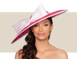 MAYA WIDE BRIM HAT - Crimson and White