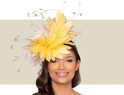 CHRISTIANE COCKTAIL HAT - Yellow and Pale Pink
