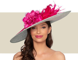 AVIGNON HAT - Aqua Blue and Hot Pink