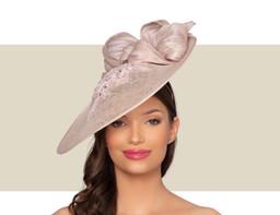 MARSEILLE FASCINATOR HAT - Neutral-Blush Pink