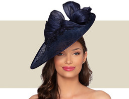 MARSEILLE FASCINATOR HAT - Navy Blue