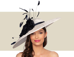 ADELE HAT - White and Navy Blue