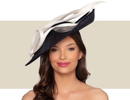 MIRAH FASCINATOR HAT - Ivory and Navy Blue