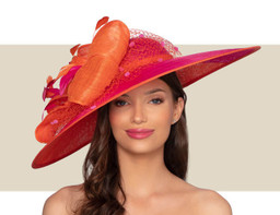 BRIMINGHAM HAT - Orange and Hot Pink