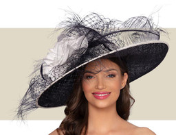 FELICITY HAT - Dark Navy Blue and Ivory