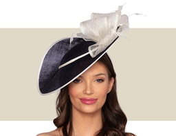 ZURI Fascinator Wedding Hat - Navy Blue and Ivory