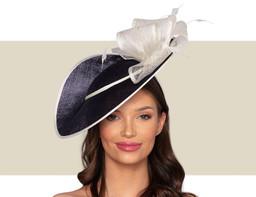 ZURI Fascinator Wedding Hat - Navy Blue and Ivory