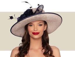 DELANEY WIDE-BRIM HAT - Natural and Navy Blue