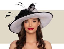 DELANEY WIDE-BRIM HAT - White and Black