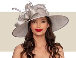 HENRIETTA WIDE-BRIM HAT - Silver Lurex