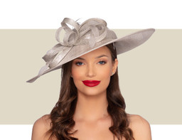 KATRIANE Fascinator Church Hat - Silver Lurex