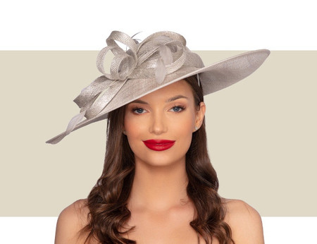 KATRIANE Fascinator Church Hat - Silver Lurex