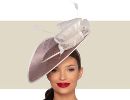 ZURI Fascinator Wedding Hat - Taupe and Ivory