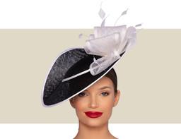 ZURI Fascinator Wedding Hat - Black and White