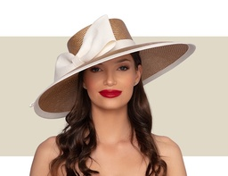 CAMERON WOMENS HAT - Tan and Ivory