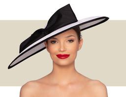 MAYA WIDE BRIM HAT - White and Black