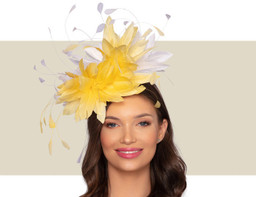 CHRISTIANE COCKTAIL HAT - Lemon Yellow and Ivory