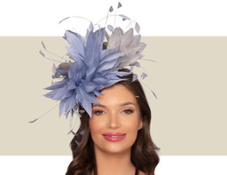 CHRISTIANE COCKTAIL HAT - Ocean Blue and Silver