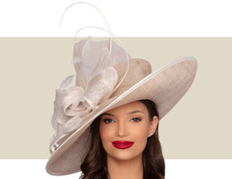 LISETTE WIDE-BRIM HAT - Almond and Ivory