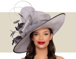 LISETTE WIDE-BRIM HAT - Silver and Pewter