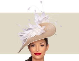 BELFORT FASCINATOR HAT - Natural and Ivory