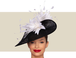 BELFORT FASCINATOR HAT - Black and Ivory